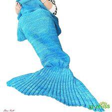 Little Mermaid Tail Blanket Wearable For Women Siren Blue Crochet Adult Knitted