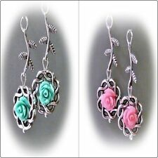 Leverback Mixed Materials Handcrafted Earrings