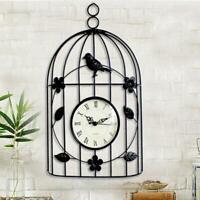 Vintage Style Bird Cage Design Wall Clock Outdoor Indoor Home Waterproof Q7O7