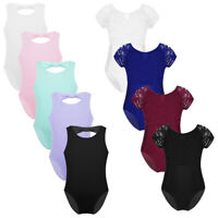 Kid Girl Ballet Gymnastics Dance Leotard Bodysuit Lace Bowknot Dancewear Costume