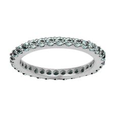 Stackable 925 Sterling Silver Blue Topaz Stone Stacking Full Eternity Band Ring