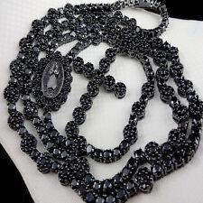 "Men's Cluster Flower Rosary Necklace Lab Diamond Link Set Chain Black G/P 30+8 """