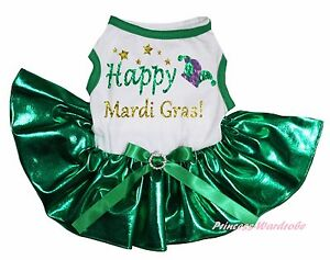 Happy Mardi Gras Hat White Top Bling Kelly Green Skirt Cat Pet Dog Puppy Dress