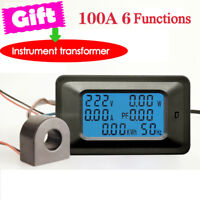 Max 100A AC LCD Digital Panel Power Watt Meter Monitor Voltage Voltmeter Ammeter