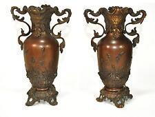 Paire de petits vases en bronze patiné époque fin XIXème