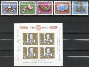 """Suiza, año 1960, serie y bloque """"Pro Patria""""completo en nuevo, Michel-Euro 51,00"""