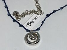 🌸 Brighton Blue Braided Cord Blue Crystal Necklace (N13) NWT🌸