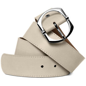 CASPAR GU271 Womens Elegant Wide Jeans Belt Silver Buckle Nappa Leather Italy