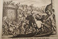 GRAVURE SUR CUIVRE MORT D'ABIMELECH-BIBLE 1670 LEMAISTRE DE SACY  (B65)