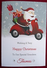 Personalised Handmade Christmas Card Boy Girl Santa Scooter Moped X515