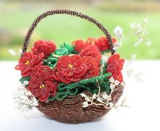 Vintage Decorative Handmade Seed Bead Red Flowers and Brown Beaded Basket