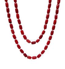 TreasureBay Stunning 120cm Natural Red Coral Beaded Necklace