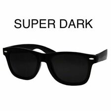 Black Super Dark Lens Classic 80s Retro Vintage Sunglasses Wayfare Style 100%UV