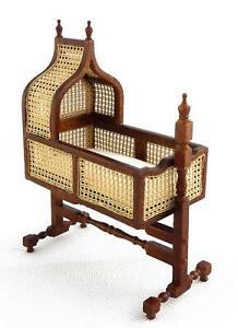 Dolls House 1:24 Jacobean Cane Walnut Rocking Cradle JBM Nursery Furniture