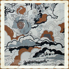 BonEful Fabric FQ Cotton Quilt VTG White Brown Surrey Mountain Flower B&W Scenic