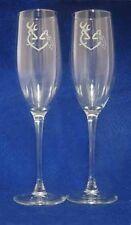 Browning Deer veil Hunting Wedding Glasses Flute Engraved Personalized FREE