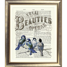 ART PRINT ON DICTIONARY ANTIQUE BOOK PAGE Bird Shabby Chic Vintage Blue Tit