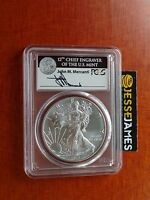 2017 (W) SILVER EAGLE PCGS MS70 MERCANTI STRUCK AT WEST POINT FIRST DAY OF ISSUE