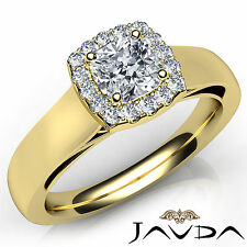 Cushion Diamond Engagement GIA F VVS2 18k Yellow Gold Halo Pave Set Ring 0.91Ct