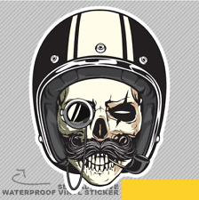 Roadster Skull Moustache Motorbike Vinyl Sticker Decal Window Car Van Bike 2210