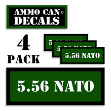 """5.56 NATO Ammo Can 4x Labels  Ammunition Case 3""""x1.15"""" stickers decals 4 pack GR"""