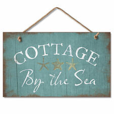 COTTAGE BY THE SEA, Nautical, Beach, Ocean Starfish Wooden Wood Sign Picture USA