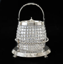 Antique English Crystal Silverplate Biscuit Box / Jar, barrel form, diamond cuts