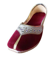 Women Shoes Indian Handmade Leather Ballerinas Maroon Mojari UK 7-9.5 EU 41-44