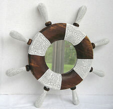 Nautical Ship Wheel Mirror Maritime Wood Decorative Rustic Beach Cottage