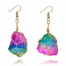 Rainbow Natural Stone Rope Wrapped Quartz Pendant Dangling Hook Earrings Gifts