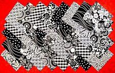 """BLACK & WHITE Prints 4"""" Squares 100% cotton Prewashed Quilt Block Fabric (#A/2A)"""