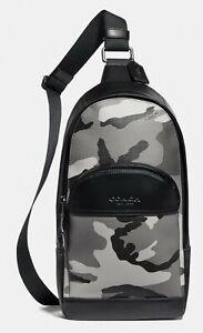 COACH 'Houston Pack w/ Camouflage Canvas Print' Mens Crossbody Messenger Bag NWT