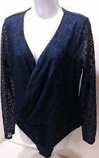 Xhilaration NWT Women Lace Body Suit Top Blue Faux Wrap Career Blouse Plus 2XL