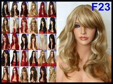 Wavy Full Women Pretty Bang Fringe Brown Blonde Highlight Lady Ladies Wig F23