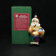 Slavic Treasures Blown Glass Christmas Ornament Figurines Santa