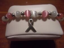 Stretch Sterling 925 Cats Eye Breast Cancer Awareness Pink Ribbon Bracelet