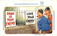 POSTCARD  COMIC DRINK IS YOUR ENEMY  LOVE YOUR ENEMY   .. ( BAMFORTH )