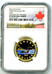 2020 $1 CANADA SILVER PROOF LOONIE DOLLAR NGC PF69 GILT COLORED LOON FR RARE !