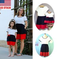 Mother Daughter Stripe Dress Matching Women Kids Girl Casual Family Clothes Hot