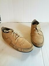 7.5 N tan leather Hush Puppies flat moccasins oxfords shoes booties