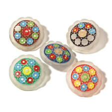 Lot (5) Vintage Czech Deco hand painted frost crystal flower glass buttons