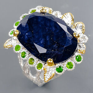 One of a kind SET Blue Sapphire Ring Silver 925 Sterling  Size 8.5 /R178710