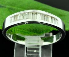 0.50 ct 14k Solid White Gold Mens Natural Diamond  Ring Band Baguette Pre-owned