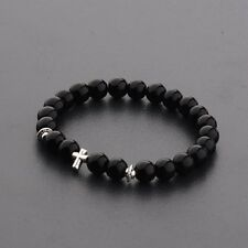 Fashion Cross Beaded Rosary Adjustable Black Lava Bead Men New Bracelets
