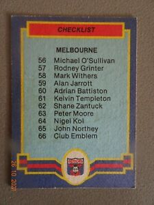 MELBOURNE-1986 SCANLENS CHECKLIST CARD ( No. 66)- EXCELLENT