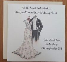 "Handmade Personalised 6"" Square Wedding Vow Renewal Card Hand Drawn Design"