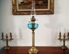 GRANDE LAMPE à PÉTROLE  FUT en  LAITON torsadé TOUPIE BLEUE 74 cm