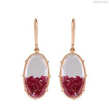 Genuine Ruby Gemstone 18K Rose Gold Hook Dangle Earrings Handmade Fine Jewelry