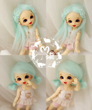 "3-4"" 9-10cm BJD fabric fur wig Water Blue for AE PukiFee lati 1/12 Dolls"
