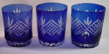 Cobalt Blue Fan Cut to Clear Crystal Water Glass-Tumbler-Whiskey Glass-Set 3-Vtg